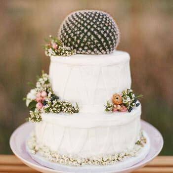 Foot: Aly Carroll Photography - Pastel decorado con cactus y flores pequeñas