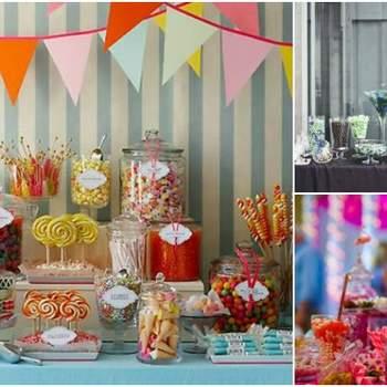 Adoucissez votre mariage en organisant un candy bar pour la fête après la cérémonie. Nous vous offrons de l'inspiration pour créer un espace unique et originale pour vos invités.