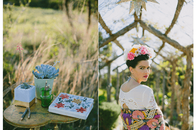 Cultura deslumbrante: Apuesta por un look de novia inspirado en Frida Kahlo