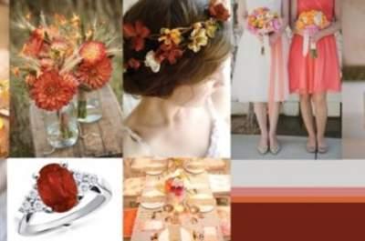 Collage de inspiración para decorar tu boda con flores en colores cálidos