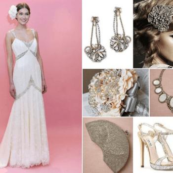 GLAMOUR VINTAGE. Unsere Mai-Braut trägt ein Brautkleid im Vintage-Stil von Badgley Mischka 2013. Der Look wird vervollständigt durch glamoröse Accessoires im Stil der 20er Jahre: Ohrringe in gold von Erick Beamon für Club Monaco, Haarband Modell 'Harlow' von Johanna Johnson, ein Bouquet von LXDesigns by Etsy, ein Collier von Ranjana Khan für BHLDN, eine Clutch von Moyna für BHLDN, Schuhe von Miu Miu. Foto: Badgley Mischka (USA).