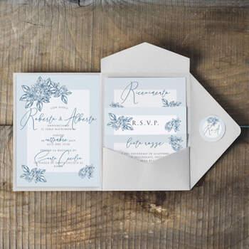 Invitaciones Azul Vintage- Compra en The Wedding Shop