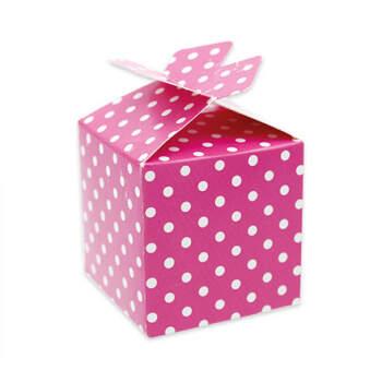 Caja cubo lazo fucsia 25 unidades - Compra en The Wedding Shop