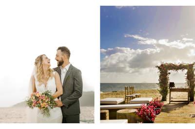 Casamento na praia de Thais & Rodrigo: com pegada Boho, muitas flores e apaixonante!
