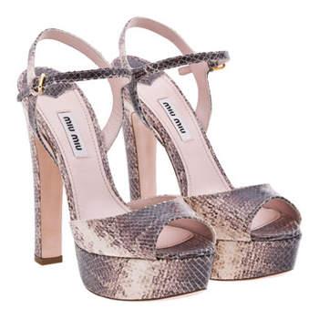 Sandales Miu Miu avec talons de 14 cms. Voilà de quoi briller jusqu'au bout des pieds !
