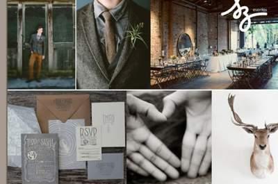 Collage de inspiración para una boda bohemia y chic