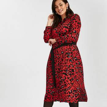 Red Leopard Print Shirt Dress, Evans