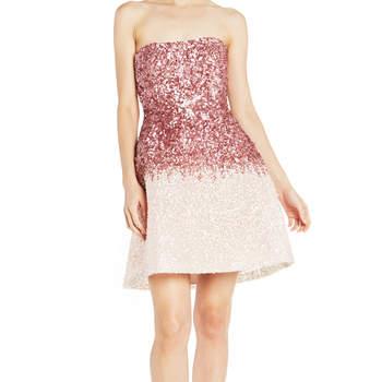 Strapless ombré seguin mini dress. Credits: Monique Lhuillier