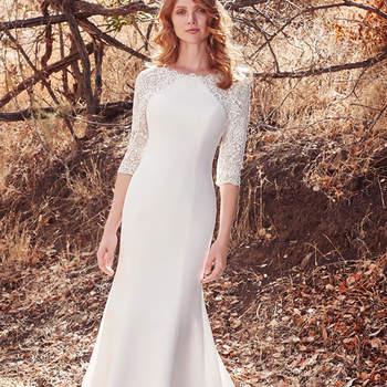 Für die Hochzeiten im Herbst und Winter gibt es hier ein Modell in A-Linie, das wundervolle Ärmel in Dreiviertellänge.