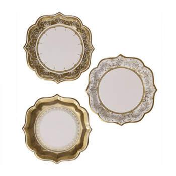 Platos oro mediano efecto porcelana 12 unidades- Compra en The Wedding Shop