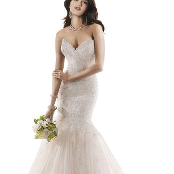 "Beautifully embellished lace adorns this dramatic fit and flare, with a sweetheart neckline and subtle sparkle. Finished with signature corset back closure. <a href=""http://www.maggiesottero.com/dress.aspx?style=3MS763"" target=""_blank"">Maggie Sottero</a>"