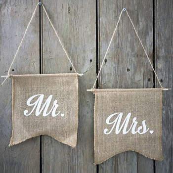 Banderines de tela MR & MRS- Compra en The Wedding Shop