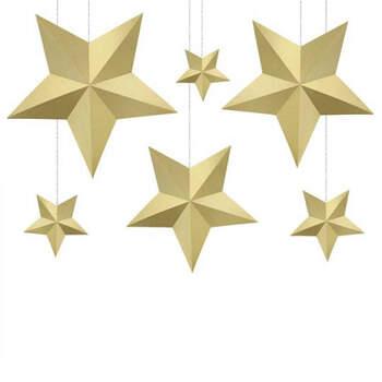 Estrellas decorativas doradas 6 piezas- Compra en The Wedding Shop
