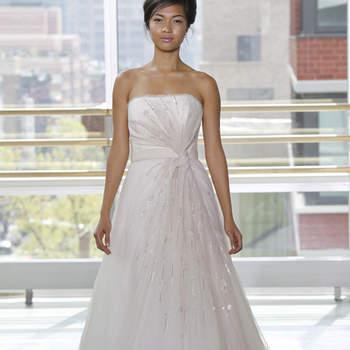 Vestido de novia con drapeado en nudo, cinturón blanco, corte princesa con brillantes en la falda
