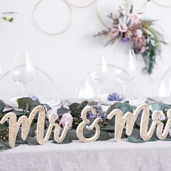 Lettres Mr Et Mrs Paillettes Or - The Wedding Shop !