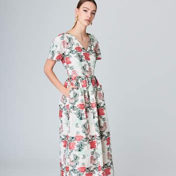 Floral jacquard taffeta A-Line dress. Credits: Oscar de la Renta