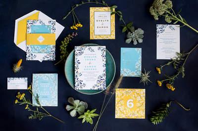 Invitaciones de boda 2016 en color azul: Un tono perfecto para enmarcar tu gran día