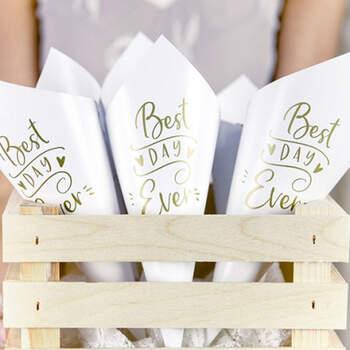 """Cono Para Arroz """"Best Day Ever"""" Blanco y Oro 10 unidades- Compra en The Wedding Shop"""