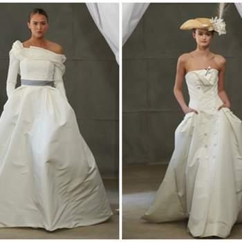Izq: vestido de novia con manga larga y cinturón plata. Derecha: Vestido strapless con botones y bolsos a los lados