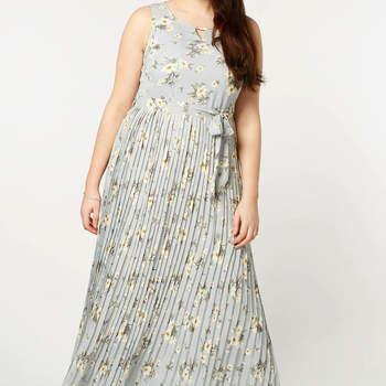 Lovedrobe Light Grey Floral Pleat Maxi Dress. Credits: Evans