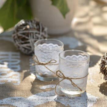 Portavelas de Vidrio con Encaje- Compra en The Wedding Shop