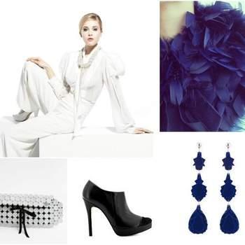 """SOFISTICADA. la novia de enero es muy elegante y decidida. Es enamoradiza, pero no renuncia a sus convicciones y principios. Usa pantalones y prefiere alejarse de las flores, le encanta el look """"total white"""", pero siempre lo acompaña con detalles en color negro, tacones de impacto, un clutch y añade detalles en azul, accesorios statement, ¡y más! Obviamente camina al altar con la convicción de que es una súper modelo. ¿Su musa? Lauren Bacall. Fotos: vestido de novia de Yolancris. (Portugal)"""