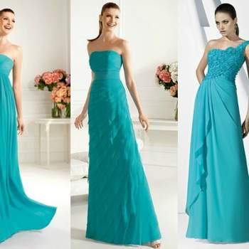 Trois robes Pronovias couleur turquoise. Photo www.pronovias.com