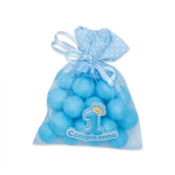 Bolsas de tul azul primer cumpleaños 12 piezas- Compra en The Wedding Shop