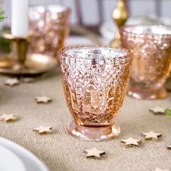Candelabro de cristal de oro rosa de 8 cm 4 piezas- Compra en The Wedding Shop