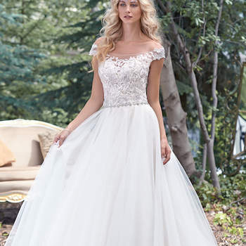 """A delicate illusion off-the-shoulder neckline coupled with a dramatic illusion lace back create glamour in this alluring ball gown wedding dress with delicate lace bodice and flowing tulle skirt, accented with a feminine Swarovski crystal belt. Finished with crystal button over zipper closure. <a href=""""www.maggiesottero.com/maggie-sottero/montgomery/9492"""" target=""""_blank"""">Maggie Sottero</a>"""