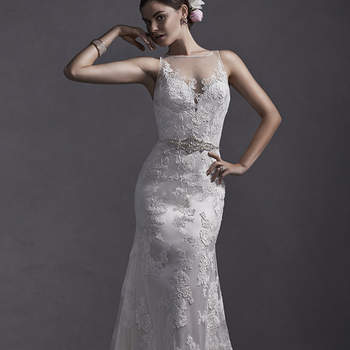"""Bold, lace floral appliqués lay atop illusion tulle in this romantic lace sheath dress. Complete with illusion neckline and sparkling Swarovski crystal belt. Finished with crystal button over zipper closure.  <a href=""""http://www.sotteroandmidgley.com/dress.aspx?style=5SW076"""" target=""""_blank"""">Sottero and Midgley Spring 2015</a>"""