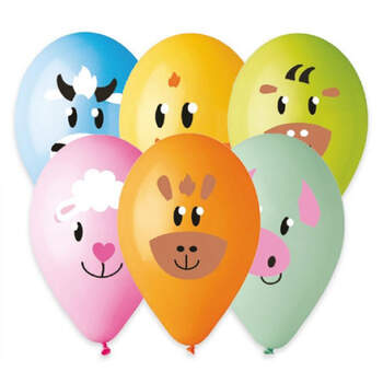 Globos de látex de animales de granja 50 piezas - Compra en The Wedding Shop