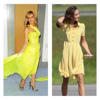 L'actrice de Sex and the city et la Duchesse de Cambridge ont toute deux choisi une robe jaune. Photo : youtube