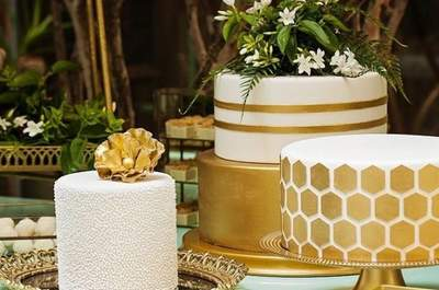 Bolos de casamento dourados: um toque de luz e sofisticação para arrasar em seu grande dia!