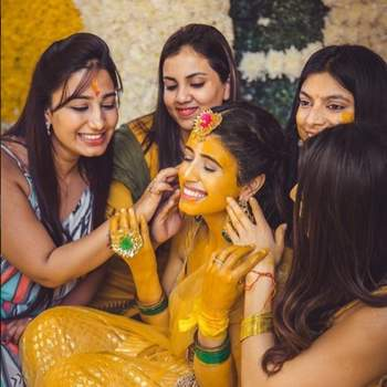 Having fun with your bridal squad at the haldi ceremony