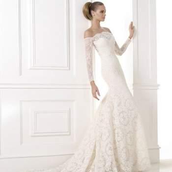 Свадебное платье c рукавами, модель KAMPARA_B от Pronovias 2015.