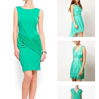 Quatre solutions à faible coût dans la plus chaude couleur de 2012. En partant de la gauche :  robe Mango, Asos de, Asos, Zara