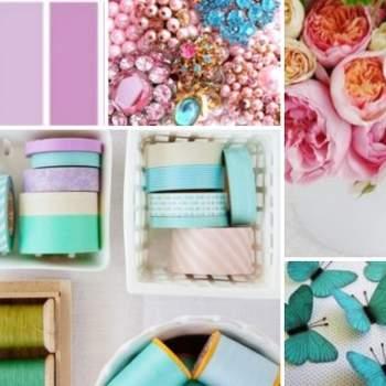 Rubans, fleurs, papillons : la couleur turquoise fait sensation pour une décoration de mariage. Source : BHDNL