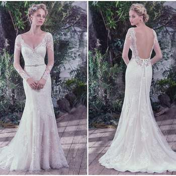 "This classic sheath wedding dress features embellished illusion lace over jersey and atop a feminine sweetheart neckline and long sleeves with hand-placed lace appliqués. Complete with a dramatic illusion scooped back and scalloped hemline. Finished with covered buttons over zipper closure. Detachable beaded belt sold separately.   <a href=""https://www.maggiesottero.com/maggie-sottero/roberta/9736"" target=""_blank"">Maggie Sottero</a>"