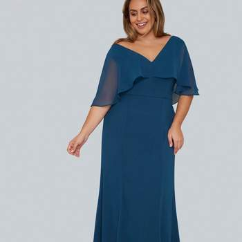 Chi Chi London Teal Blue Chiffon Maxi Dress, Evans