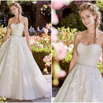 Dieses Kleid ist im klassischen Prinzessinen-Stil für eine prunkvolle Hochzeit bestens geeignet.