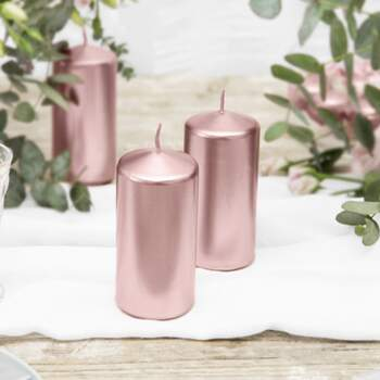 Bougies Cylindriques Décoratives Or Rose 6 Pièces - The Wedding Shop