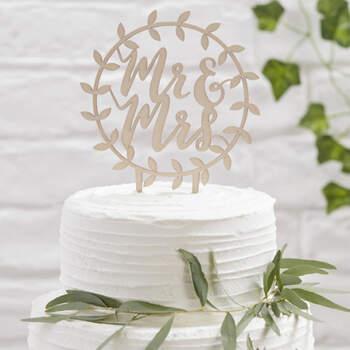 Figura Para Tarta Guirlanda Madera Mr y Mrs- Compra en The Wedding Shop