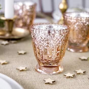 Bougeoir En Verre En Or Rose 8 Cm 4 Pièces - The Wedding Shop