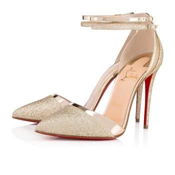 Chaussures de mariée argentées Uptown Double Glitter Tonic Specchio, Christian Louboutin