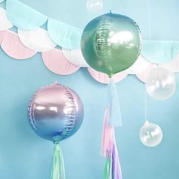 Ballon Foil Sphérique Holographique Bleu et Vert - Achetez sur The Wedding Shop !