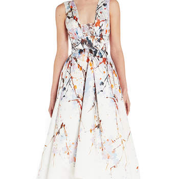 Splash print mikad tea length dress. Credits: Monique Lhuiller