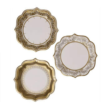 Platos Oro Mediano Efecto Porcelana 12 Unidades- Compra en The Wedding Shop