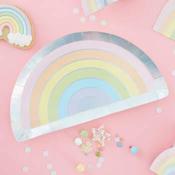 Platos arco iris pastel 8 unidades- Compra en The Wedding Shop