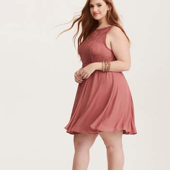 Mauve Lace Chiffon Skater Dress. Credits: Torrid